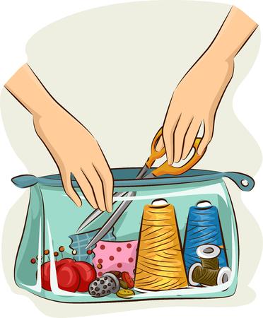 kit de costura: Ilustración de una bolsa transparente Lleno de materiales de costura