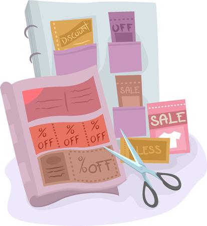 thrift: Illustration of a Coupon Collection Compiled in an Album