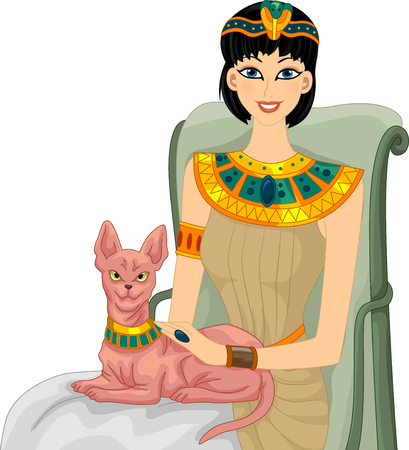 petting: Illustration of an Egyptian Woman Petting Her Sphynx Cat