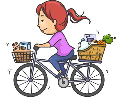Illustratie van een meisje Het vervoer van goederen met behulp van haar fiets Stockfoto