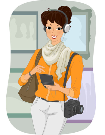 tourist guide: Illustration of a Female Tourist Listening to an Audio Guide Stock Photo
