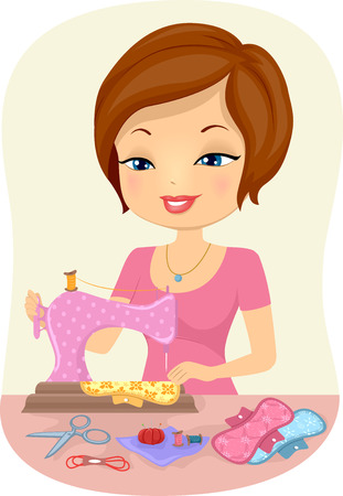napkins: Illustration of a Woman Sewing Homemade Napkins