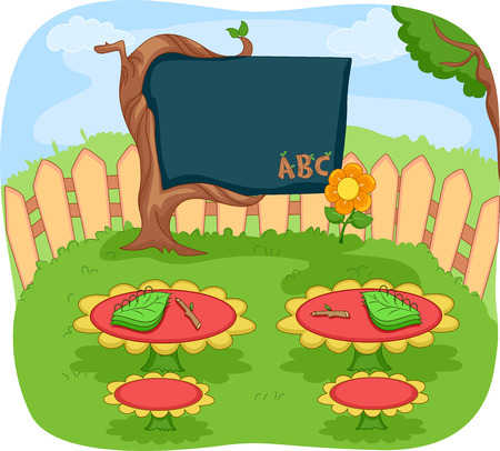 middle air: Illustration of an Outdoor Classroom in the Middle of a Flower Garden Stock Photo