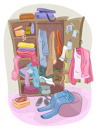 completos: Ilustración de un armario desbordando con desorden