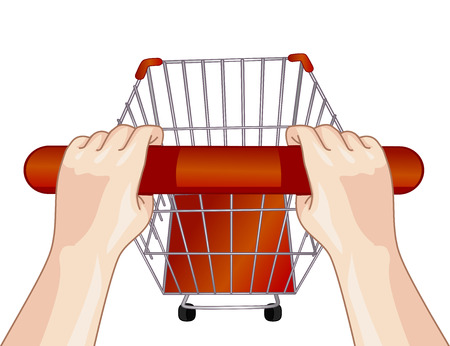 Illustration of a Person Pushing an Empty Shopping Cart