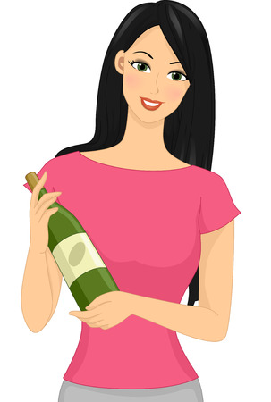 Illustration of a Girl Holding a Bottle of Wine