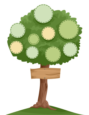 kin: Illustration of a Family Tree with Designated Spots for Individual Photos