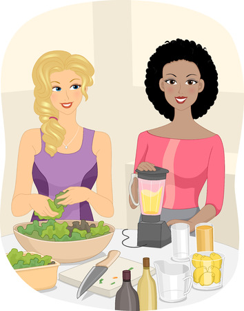 preparing food: Illustration of Women Preparing Smoothies Made from Fruits and Vegetables