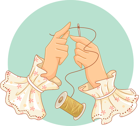 passing: Retro Illustration of a Woman Passing a String of Thread Through a Needle Stock Photo
