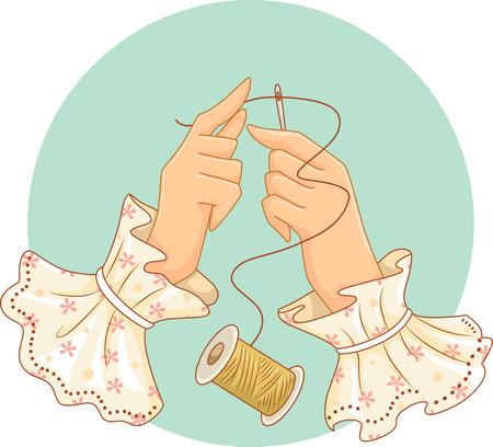 kit de costura: Retro Ilustración de una mujer pasar una cadena de hilo a través de una aguja