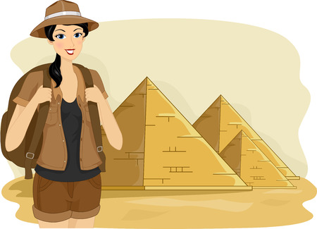 historical: Illustration of a Female Tourist Visiting the Pyramids of Egypt