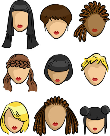 samples: Grouped Illustration Featuring Samples of Hairstyles for Women Stock Photo