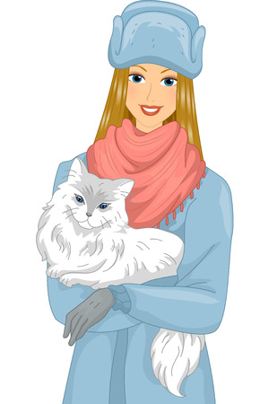 female animal: Illustration of a Girl Carrying a Syberian Cat in Her Arms