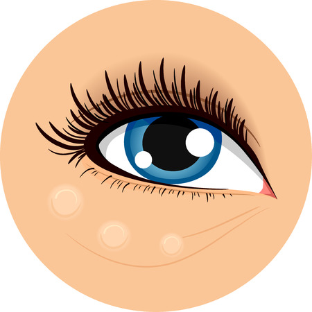 makeup eyes: Icon Illustration Demonstrating How to Use Concealing Cream