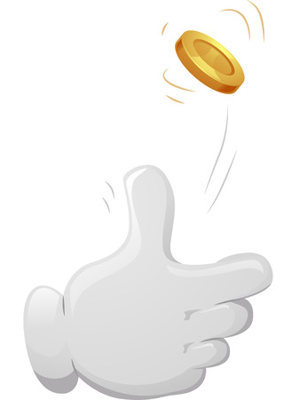 performance art: Illustration of a Mascot Tossing a Golden Coin in the Air Stock Photo