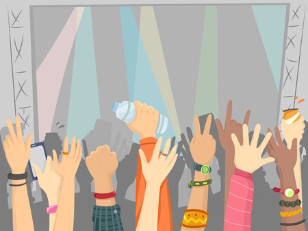 strobe lights: Illustration of the Audience of a Concert with Their Hands Raised