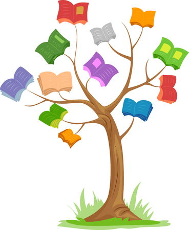 childrens book: Illustration of a Tree with Colorful Books for Branches