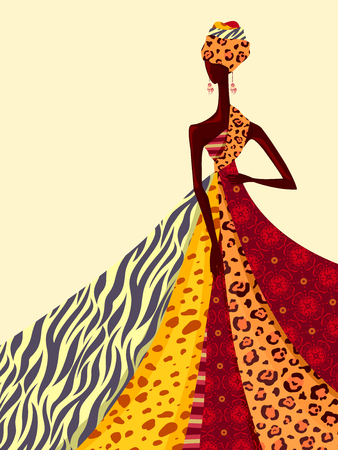 Illustration of an African Girl Modeling a Gown Made From Brightly Colored Fabrics Фото со стока