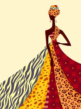 animal print: Ilustración de una niña africana Modelando un vestido de Hecho De Colores Brillantes Tejidos Foto de archivo