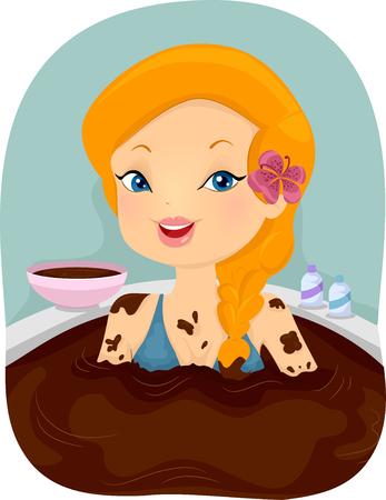soak: Illustration of a Girl Enjoying a Chocolate Bath