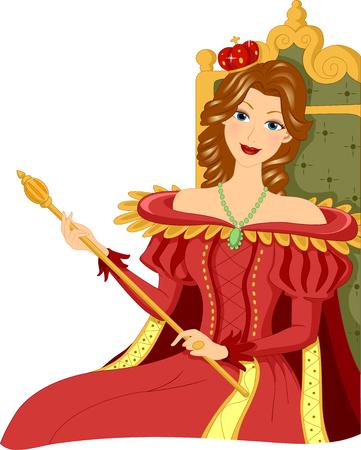 Illustration d'une femme vêtue comme une reine tenant un sceptre alors qu'il était assis sur le Trône Banque d'images