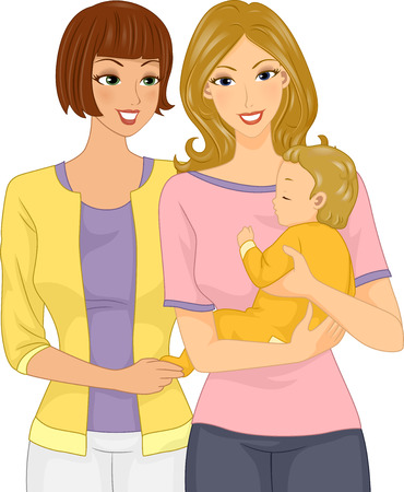godmother: Illustration of a Woman Visiting Her Friend and Her Baby Stock Photo