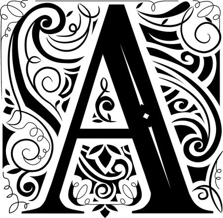 letras negras: Ilustración de un monograma del vintage que ofrece la letra A Foto de archivo