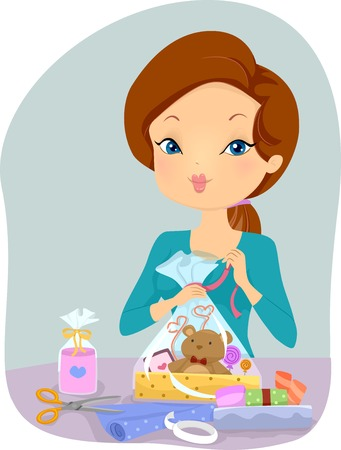 personalized: Illustration of a Girl Wrapping a Personalized Gift