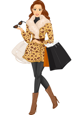Illustration of a Stylish Woman Wearing a Fur Coat Out Shopping Фото со стока