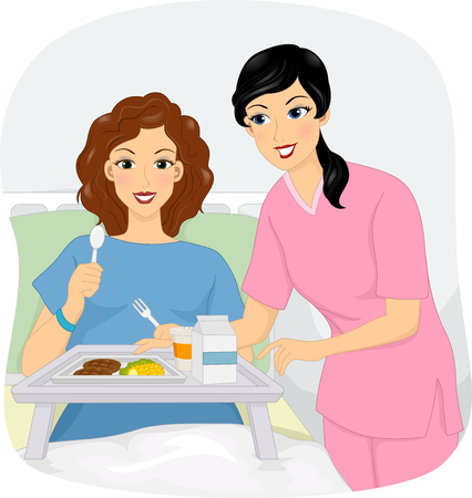Illustratie van een vrouwelijke verpleegkundige helpen haar patiënt om te eten