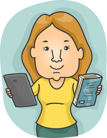 offering: Illustration of a Woman Offering a Tablet and a Book as Options Stock Photo