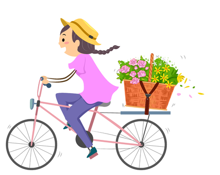 deliver: Illustration of a Woman Using a Bike to Deliver a Basket of Flowers Stock Photo