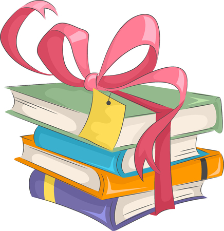 reading a book: Illustration of a Stack of Gifts Bound by a Pretty Ribbon Stock Photo
