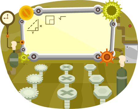 tertiary: Illustration of a Classroom Decorated with Wheels and Gears