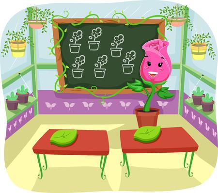 gardening: Illustration of a Rose Teacher Teaching Inside a Greenhouse Stock Photo