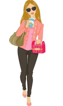tomando café: Ilustración de una niña con una caja de comida para llevar
