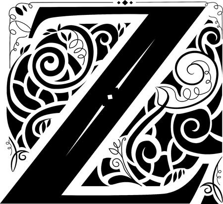 vignettes: Illustration of a Vintage Monogram Featuring the Letter Z Stock Photo