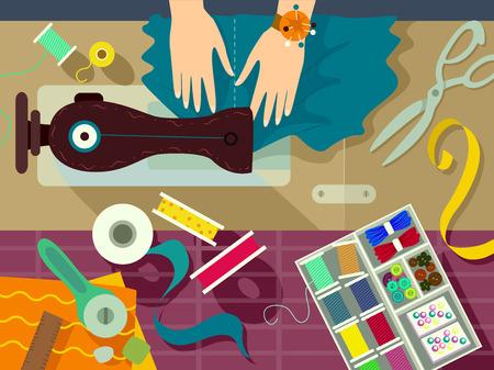 Wohnung Illustration einer Kanalisation Umgeben von Materialen für Näharbeit Standard-Bild