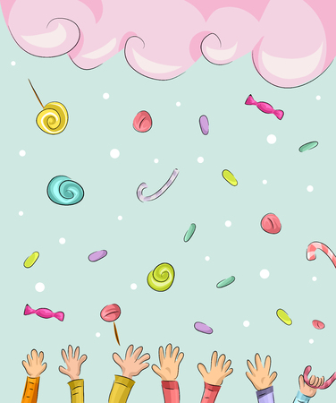 Whimsical Illustration of Children Catching Candies Falling from the Sky