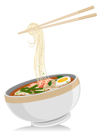 thai noodle: Illustration of a Bowl of Laksa Noodles with a Pair of Chopsticks Hanging Above It Stock Photo
