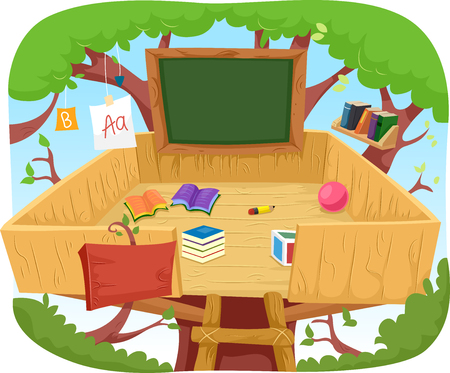 reading material: Illustration of a Cute Treehouse Classroom Cluttered with Educational Materials