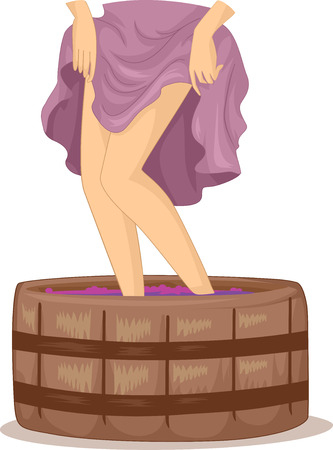 wines: Illustration of a Woman Stomping on Grapes Used for Making Wines