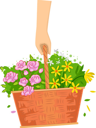 hand basket: Cropped Illustration of a Hand Carrying a Basket of Flowers