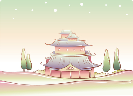 chinese temple: Whimsical Illustration of a Traditional Chinese Temple Stock Photo