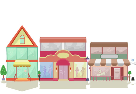 store: Colorful Illustration Featuring Store Facades with Different Designs