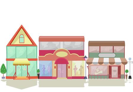store: Illustrazione colorata Caratterizzato da facciate Conservare con differenti disegni
