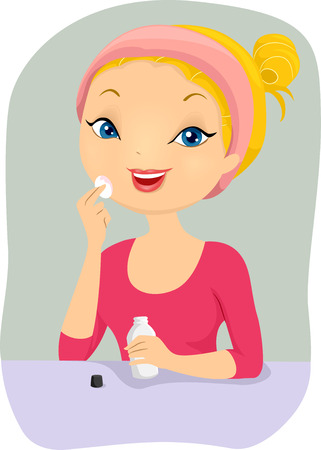 cleanser: Illustration of a Girl Removing Her Make Up Before Sleeping Stock Photo