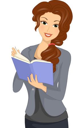 Illustrazione di una ragazza che legge un libro su Consigli di carriera Archivio Fotografico