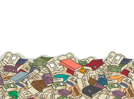 disorganization: Border Illustration of Piles of Books Scattered About Stock Photo