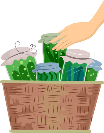 food basket: Illustration of a Hand Touching a Basket Filled with Canned Vegetables Stock Photo
